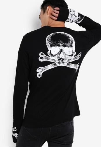 Flesh Imp 黑色 Skully Print Extreme Long Sleeve T-Shirt FL064AA08VWDMY_1