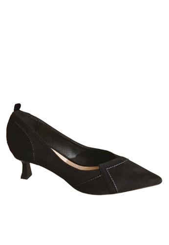 Twenty Eight Shoes 黑色 超纖絨中跟鞋 VL66620 BD524SH2F52CC5GS_1