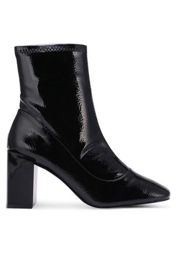 River Island black Square Toe Block Heel Sock Boots RI009SH0S72ZMY_1