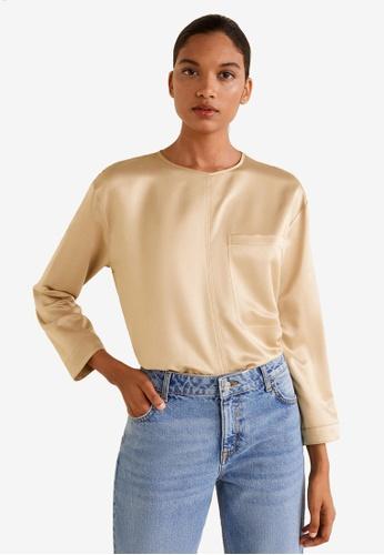 Mango gold Satin Panel T-Shirt A182EAAC296A10GS_1
