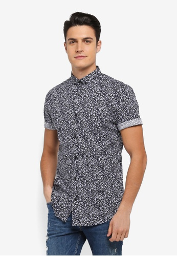 River Island navy Navy Ditsy Floral Shirt EF839AA7A49C35GS_1