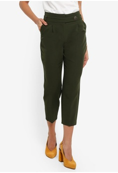 4a1a266136a Dorothy Perkins green Petite Khaki Button Detail Trousers 76E16AA2173F23GS 1