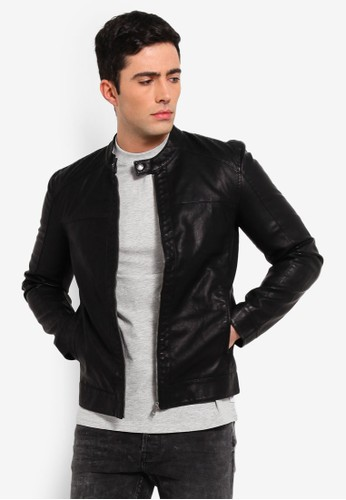 Only & Sons black Mike Pu Racer Jacket 44D4BAA5FD6836GS_1