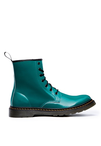Life8 green Casual Leather Military Style High Bright Boots-09854-Green 73B64SH65590F9GS_1