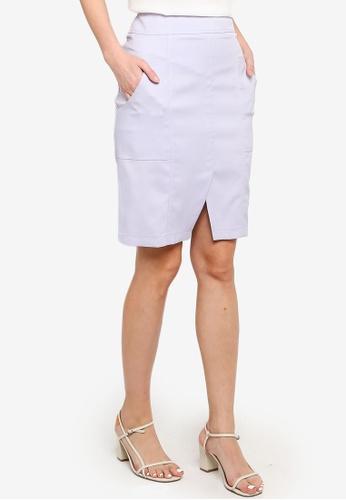 ZALORA grey and blue Notch Detail Knee Length Skirt EBCE9AA7C8CA56GS_1