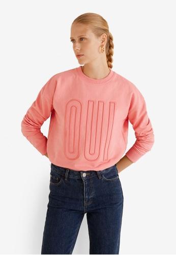 Mango pink Embossed Message Sweatshirt 32E43AAD76039BGS_1