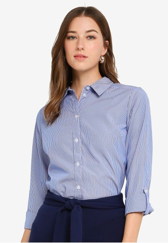 Dorothy Perkins blue Blue Stripe Cotton Shirt 7EC7DAA39EF388GS_1