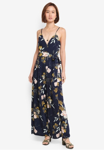 INDIKAH navy Floral Jumpsuit With Waist Sash 9A1C1AAA6AA2E3GS_1
