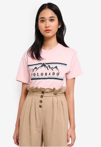 TOPSHOP pink Colorado' Print T-Shirt 035ACAA68C5DFCGS_1