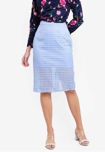 ZALORA 藍色 透視層次格紋裙 0DBC9AAB08556BGS_1