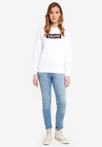 Calvin Klein white Long Sleeve Graphic Cn Sweatshirt - Calvin Klein Jeans E2239AAFE929C1GS_1