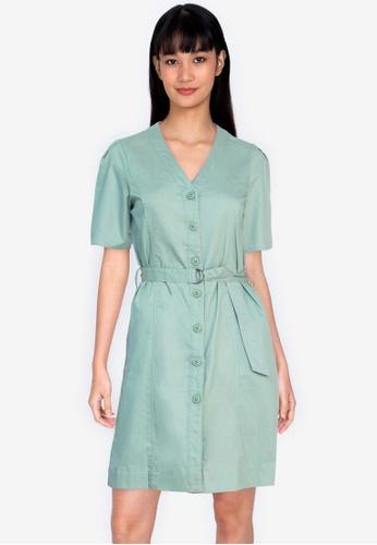 ZALORA BASICS green Button Front Pleated Back Shirt Dress B93DBAA2F2CB6FGS_1