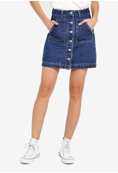 744a61efb2 Something Borrowed blue Contrast Stitching Denim Skirt E8C85AAB90FD62GS_1