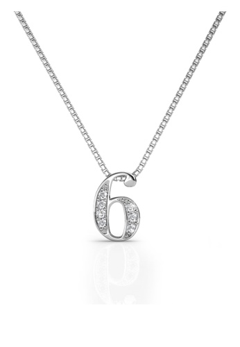 Her Jewellery white Her Jewellery Number Pendant (No.6) with Necklace Chain with 18K Gold Plated HE210AC63ZQMSG_1