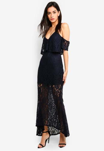 MISSGUIDED navy Strappy Frill Lace Maxi Dress 4F3DCAA43EB4F3GS_1