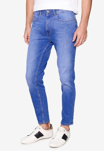 Burton Menswear London blue Blue Organic Cotton Tapered Jeans 82FEBAAF139510GS_1