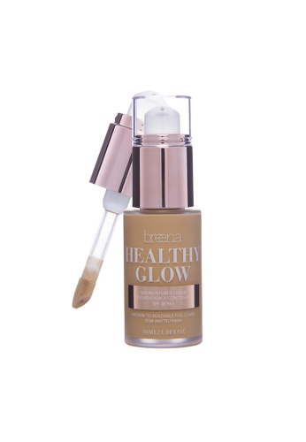 Breena Beauty Healthy Glow Serum Infused Liquid Foundation + Concealer SPF 30 (4.0 TAN) 4D672BEA0FE95FGS_1