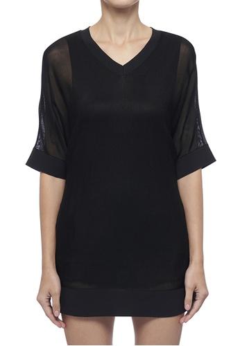 DKNY black DKNY Women Sheer V-Neck Sweater 24EA2AAC14F09DGS_1