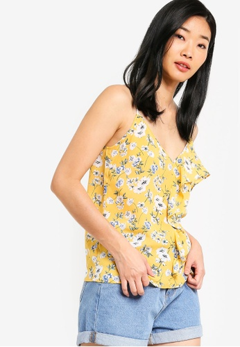Something Borrowed yellow and multi Asymmetric Ruffles Cami Top EE115AA43F41A4GS_1