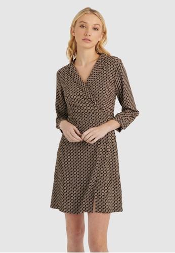 FORCAST brown Lara Collared Print Dress E24C4AAA4F52E3GS_1