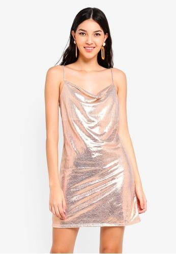 dfd160ba334 Buy Miss Selfridge Gold Metallic Cowl Bodycon Online on ZALORA Singapore