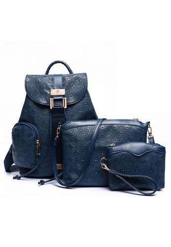 Jackbox blue Set of 3 Elegant Leather Sling Bag Handbag Backpack 905 (Blue) JA762AC43RXKMY_1