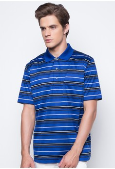 Three Color Rugby Stripe Polo with Pocket