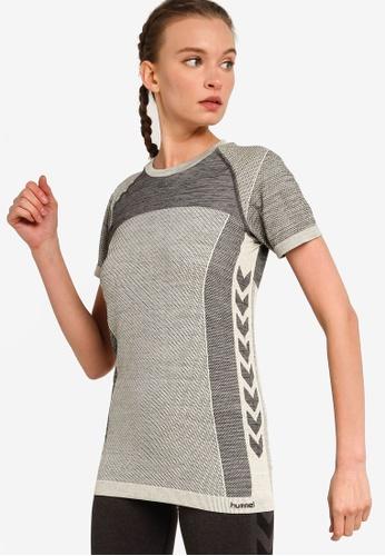 Hummel grey Clea Seamless T-Shirt 2799DAA64D7EB3GS_1