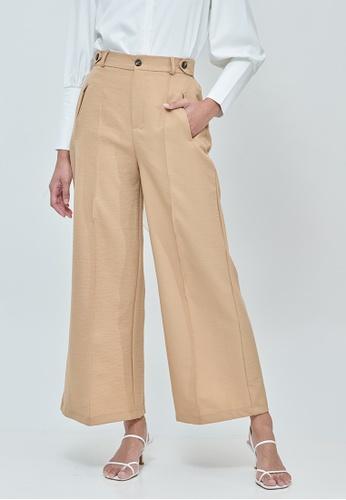 MC Vogue brown Sabrina Light Brown Elastic Wide Pants 3F810AAE4D7EF9GS_1