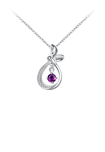 Glamorousky purple Fashion Water Drop-shaped Pendant with Purple Austrian Element Crystal and Necklace 277C1AC6F7B9F4GS_1