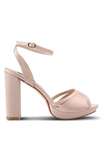 ZALORA 米褐色 繞踝繫帶魚口高跟鞋 572D3SH1B4523DGS_1