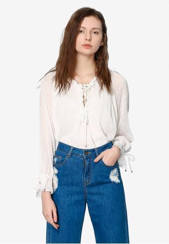 Hopeshow white Long Sleeve Semi Sheer Blouse A95D7AA7225183GS_1