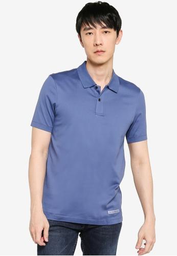 CK CALVIN KLEIN blue Double Mercerised Cotton Jersey Short-Sleeved Polo C6BB7AA44C22E2GS_1