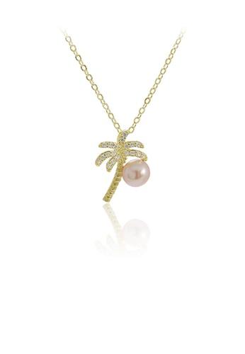 Glamorousky 紫色 925純銀鍍金色時尚創意椰子樹紫色淡水珍珠吊墜配鋯石及項鏈 2069BAC92EF0C6GS_1