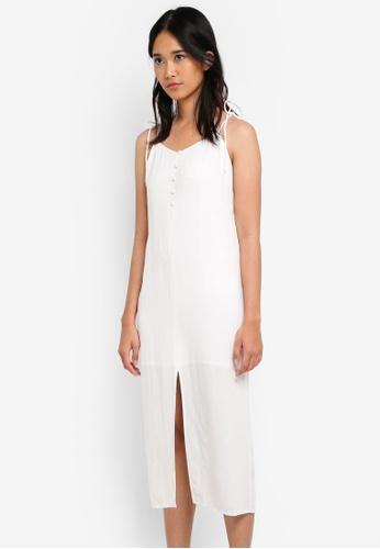 TOPSHOP white Tie Button Midi Slip Dress 27CFBAA82417D4GS_1