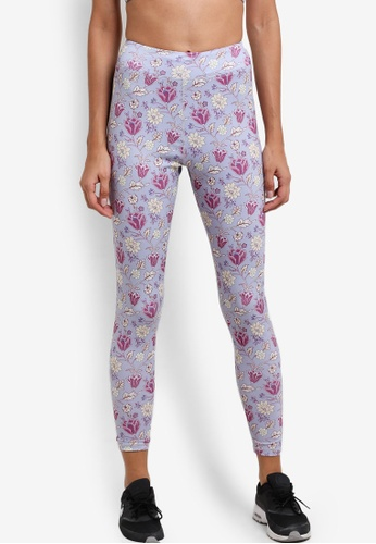 ZALORA SPORT blue and multi All-Over Print 7/8 Leggings 891C3AA3682C56GS_1