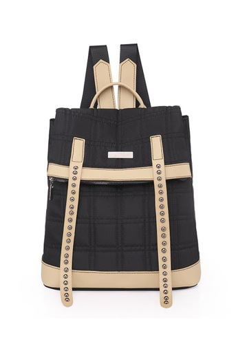 Lara black Women's Water Repellent Light Weight Square Embossed Oxford Cloth Flap Backpack - Black C2403ACA4B356BGS_1