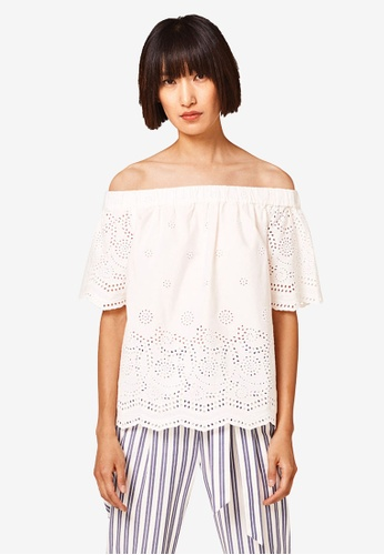 ESPRIT white Woven Short Sleeve Blouse 4E51CAAE6913C8GS_1