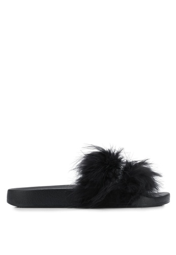 TOPSHOP 黑色 Hello Feather Sliders TO412SH0SHIGMY_1