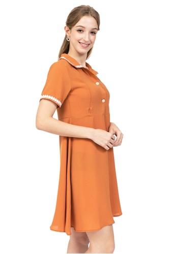 MOOIMOM orange MOOIMOM Collar Nursing Dress/Baju Menyusui CEF11AA294F8D3GS_1