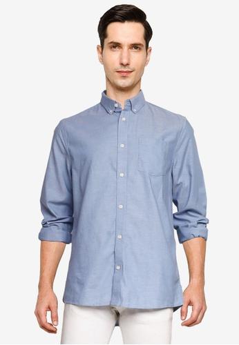Burton Menswear London blue Light Blue Long Sleeves Oxford Shirt 00C23AAC5033E6GS_1