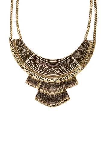 Jaysa Collection gold Aztec Art Golden Necklace JA875AC0F1YGSG_1