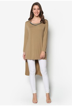 Long Sleeves Diamante Top
