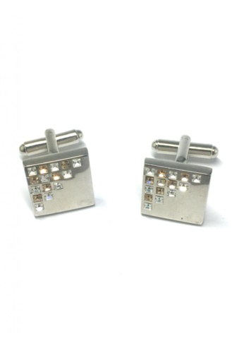Splice Cufflinks silver White and Yellow Crystals Patterned Square Cufflinks SP744AC10FTHSG_1