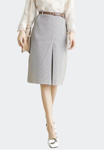 Shopsfashion beige Pencil Midi Skirt with Belt Set 069C4AAB95D2D8GS_1