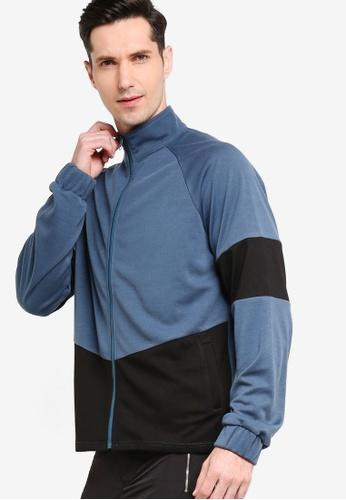 ZALORA ACTIVE blue Colourblock Zip Up Jacket D0CE0AAC5908C6GS_1