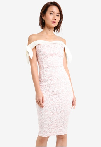 Vesper white and pink Vesper Dione Bow Detail Midi Dress 7E386AA985A6B3GS_1