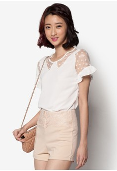 Tee with Lace Cut