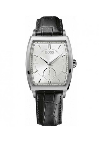 Hugo Boss Silver And Black Leather Watch