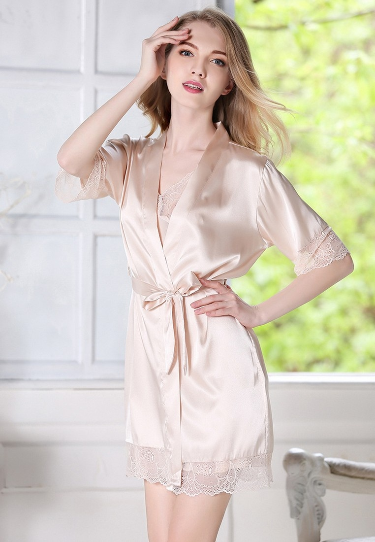 GownTwo LCL1109Beige Sexy Set Sleepwear LYCKA Lady amp; Night European Beige Pieces Lace LYCKA Style Beige M P5wTq1